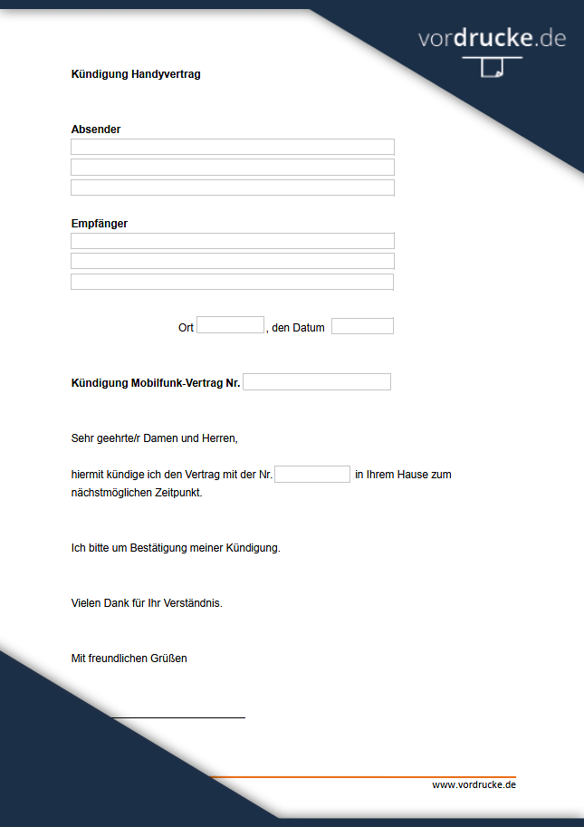 Fristlose Kundigung Handyvertrag Muster Zum Download 4