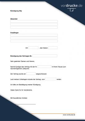 Sky abo kündigung vorlage pdf