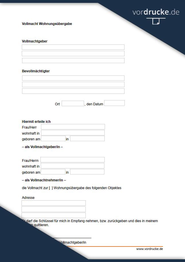 Vollmacht Muster Vorlage Online Word Und Pdf