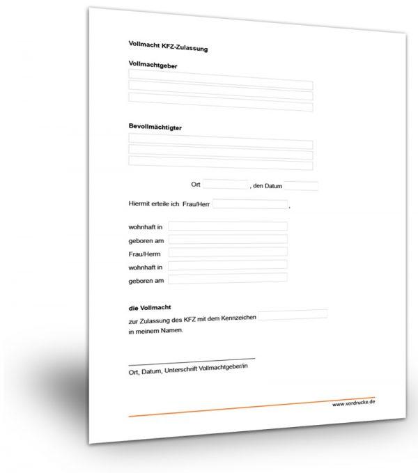 Vollmacht KFZ-Zulassung