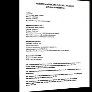 Vorlage Vereinbarung Probefahrt