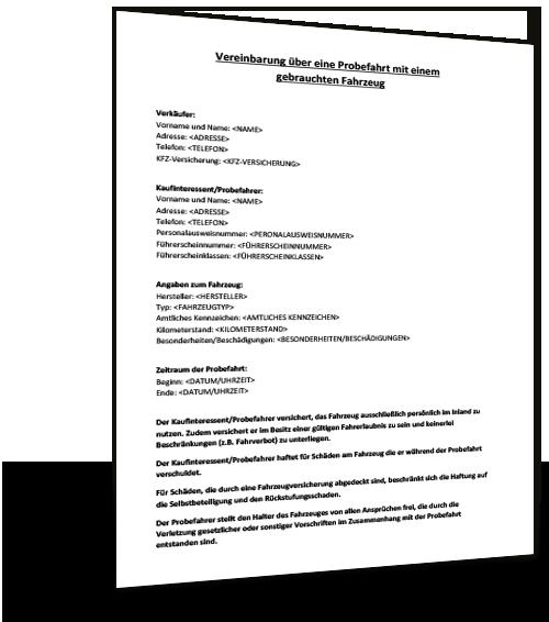 Mustervertrag Probefahrt 1 Kostenlose Vordrucke Und Mustervorlagen