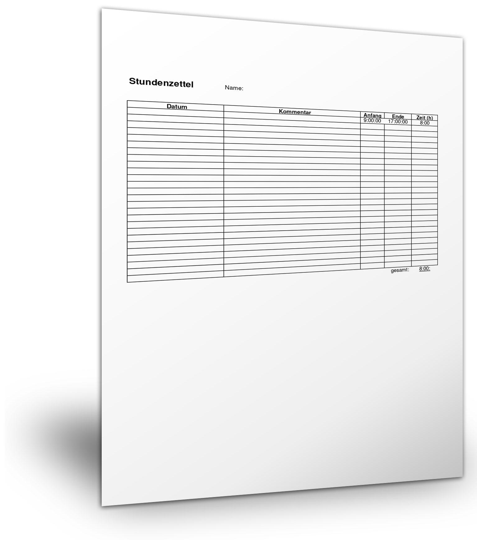 Stundenzettel Kostenlose Vordrucke Und Mustervorlagen Downloaden