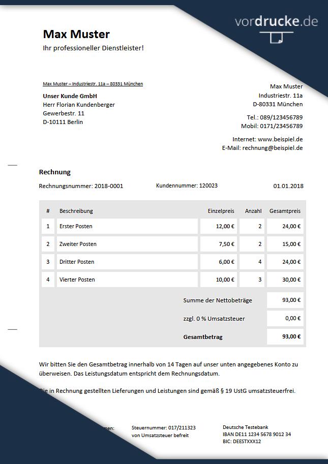 Rechnungsvorlage Ohne Umsatzsteuer