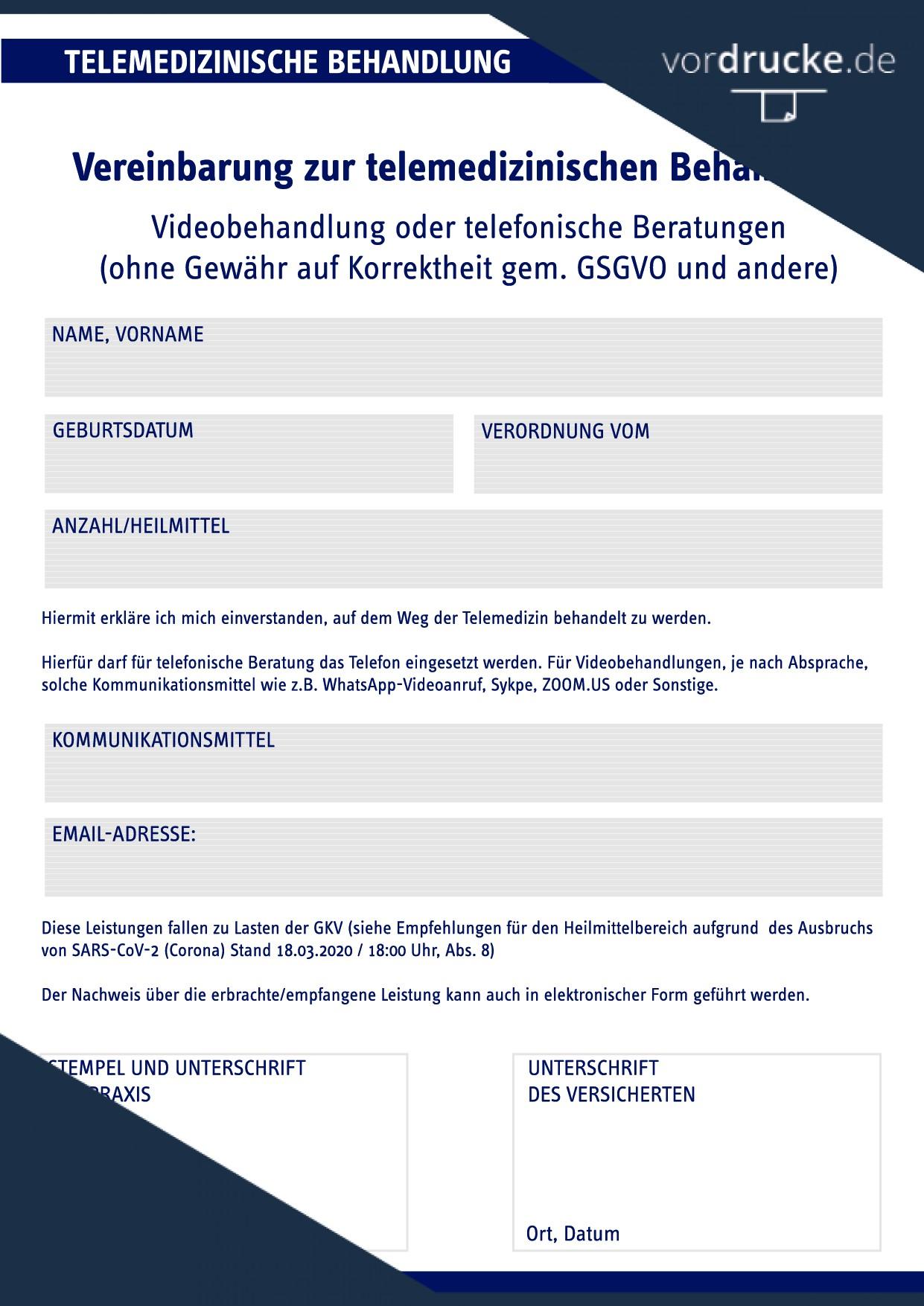 Vorlage Vereinbarung zur telemed Behandlung