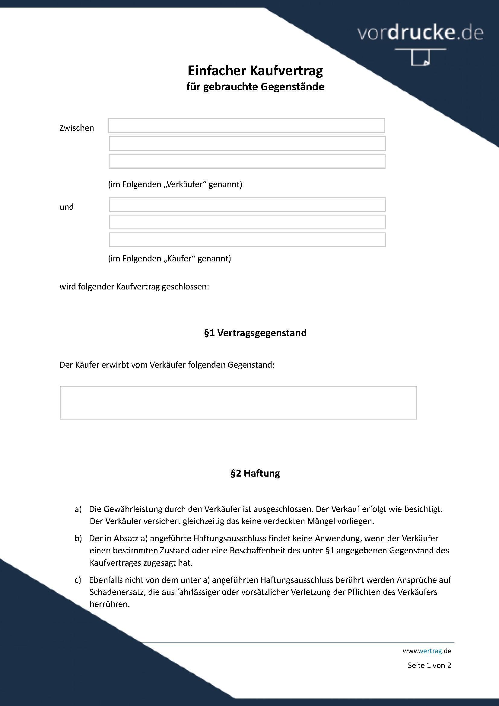 Vordruck kaufvertrag-einfach-gebrauchte-gegenstaende