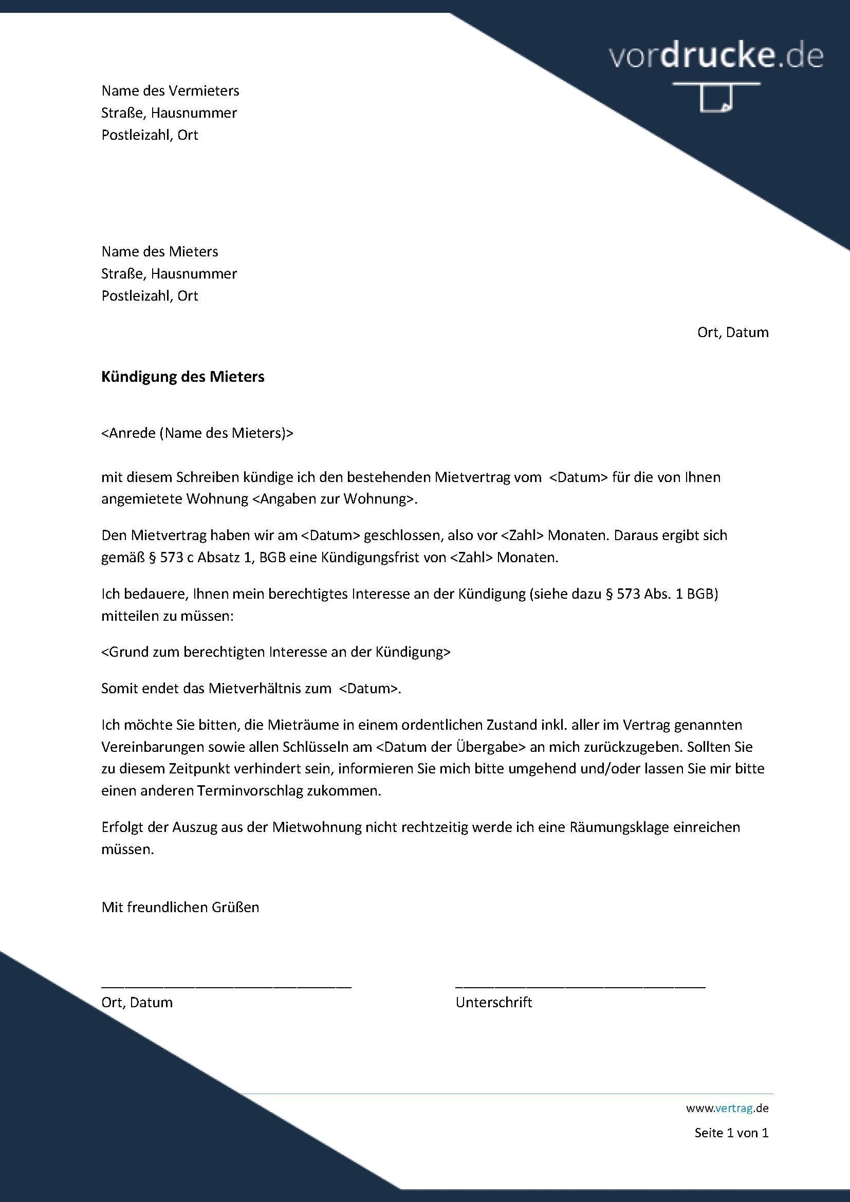 Vordruck kuendigung-mietvertrag-vermieter-an-mieter